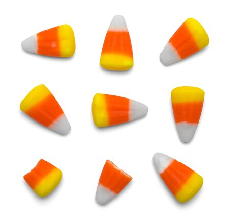Various Candy Corn Pieces Isolatd on White Background. Stock Photo