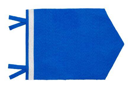 Small Blue Pennant Felt Flag Isolated on White Background.