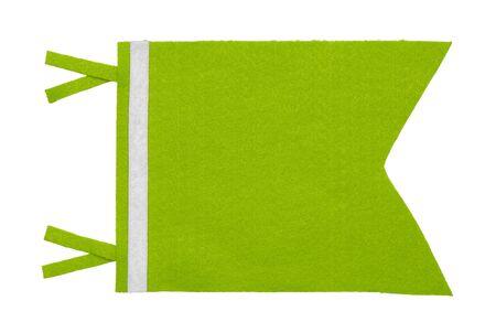 Short Green Pennant Felt Flag Isolated on White Background.