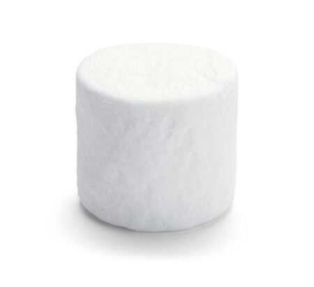 Single Large Marshmellow Isolated on White Background. Banque d'images