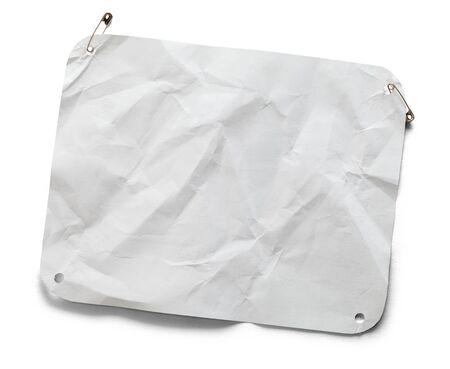 Wrinkled Marathon Bib With Copy Space Isolated on White.