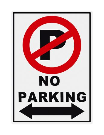 No Parking Metal Sign Isolated on White Background. Stock Photo