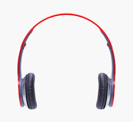 Red Head Phones Cut Out on White.