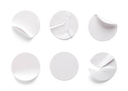 Round White Sticky Tags Isolated on White Background.