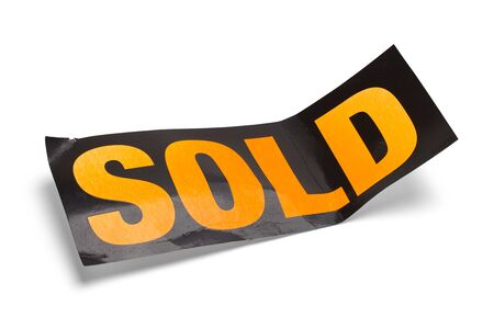 Old Sold Sign Bent Isolated on White Background.