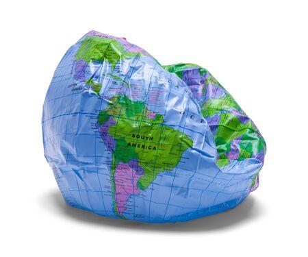 Deflated Plastic Globe Isolated on White Background.