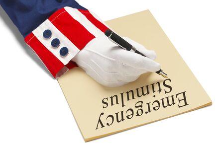 President Writing Emergency Stimulus Order Isolated on White Background.