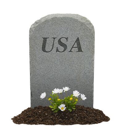 USA Headstone and Flowers Isolated on White Background. Stock Photo