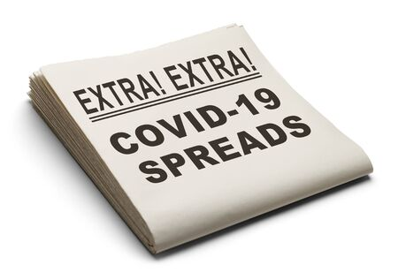 Newspaper with COVID-19 Spreads Isolated on White Background.