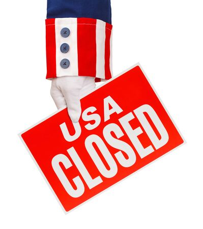 President Holding USA Closed Sign Isolated on White.