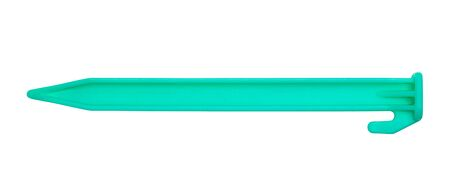Green Plastic Tent Stake Isolated on White.