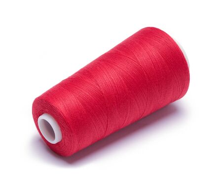 Red Spool of Serger Thread Isolated on White.