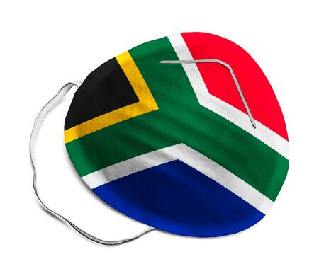 N95 Medical Mask with South African Flag Isolated on White Background.