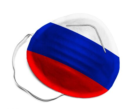 N95 Medical Mask with Russian Flag Isolated on White Background.