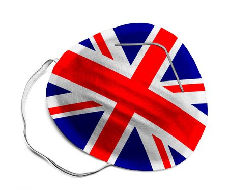 N95 Medical Mask with British Flag Isolated on White Background. 版權商用圖片