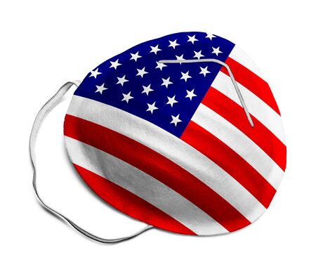 N95 Medical Mask with United States Flag Isolated on White Background.