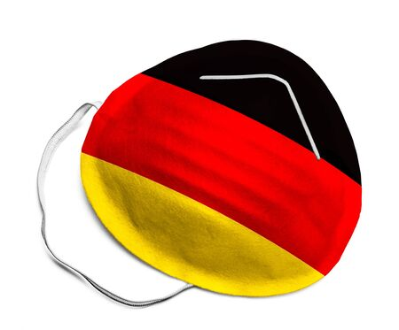 N95 Medical Mask with German Flag Isolated on White Background. 版權商用圖片