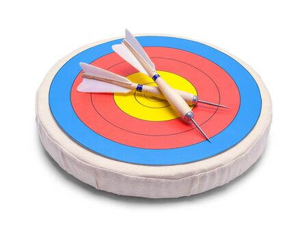 Two Darts on a Target Isolated on White. 스톡 콘텐츠