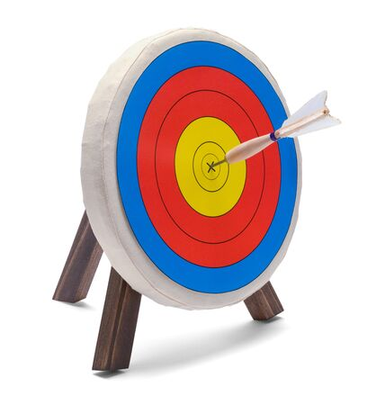 Round Target with Dart Isolated on White Background.