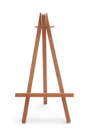 Tiny Wood Easel Isolated on White Background. Archivio Fotografico