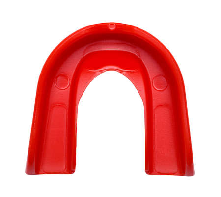 Red Sports Mouth Guard Top View Cut Out on White. Standard-Bild