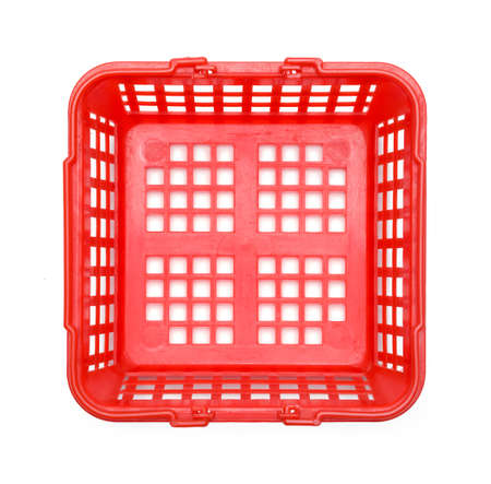 Red Empty Shopping Basket Top View Isolated on White. Stock fotó