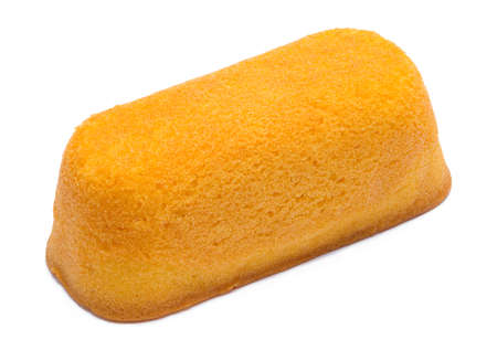 Yellow Sponge Cake With Cream Filling Isolated on White.