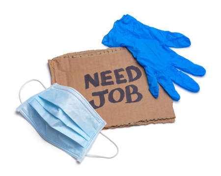 Need Job Cardboard Sign with Medical Mask and Glove.