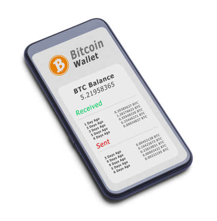 Smart Phone With Bitcoin Wallet Cut Out on White. Stok Fotoğraf