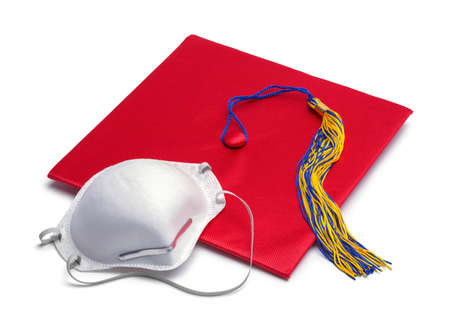 Red Mortar Board Graduation Hat with N95 Mask. Stok Fotoğraf