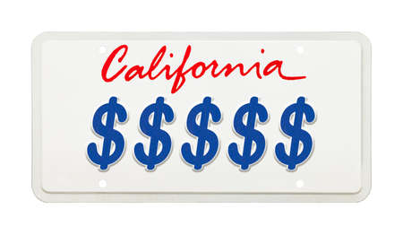 California License Plate with Money Symbols Printed on It.
