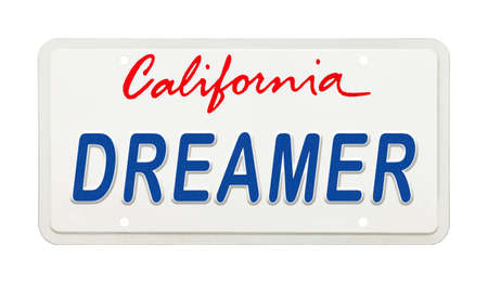 California License Plate with the Words Dreamer Printed on It. Stok Fotoğraf