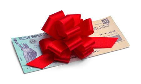 Federal Tax Return Check with Red Ribbon Bow. Stok Fotoğraf