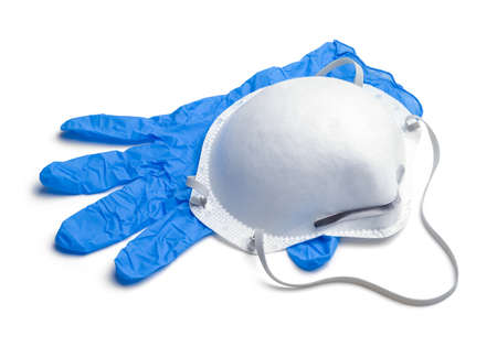 N95 Mask With Blue Medical Glove Cut Out on White. Stok Fotoğraf