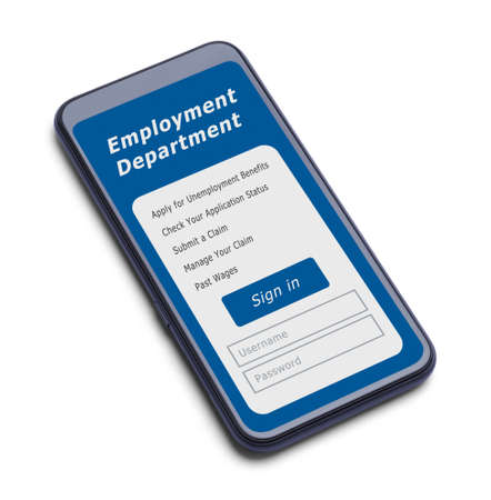 Smart Phone With Unemployment Application Sign In.