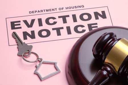 Eviction Notice Ruling With Gavel and House Keys.