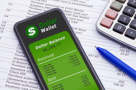 Smart Phone With Digital Dollar Wallet on Bank Statement with Calculator and Pen. Stok Fotoğraf