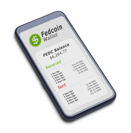 Smart Phone with Fedcoin Crypto Wallet Cut Out on White. Stok Fotoğraf