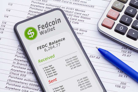 Smartphone with digital Fedcoin Wallet on bank statement with calculator and pen.