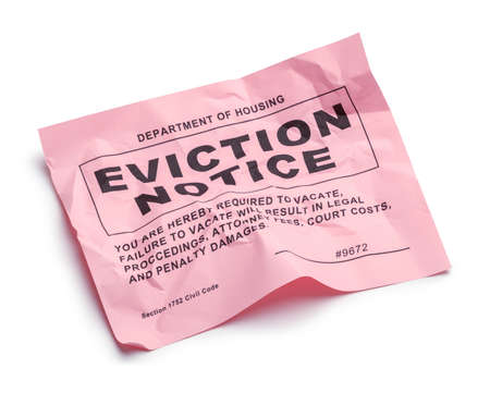 Department of Housing Eviction Notice Cut Out on White.