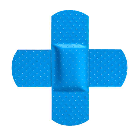 Two Blue Bandages Making a Cross Symbol.