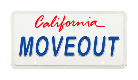 California License Plate with the Words Move Out Printed on It,
