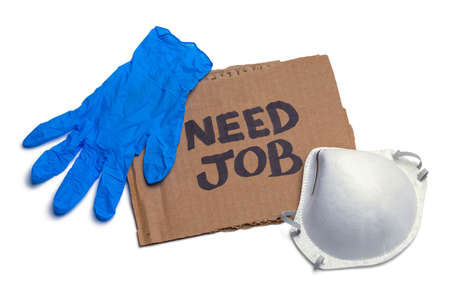 Need job Cardboard Sign with N95 Mask and Glove. Stok Fotoğraf