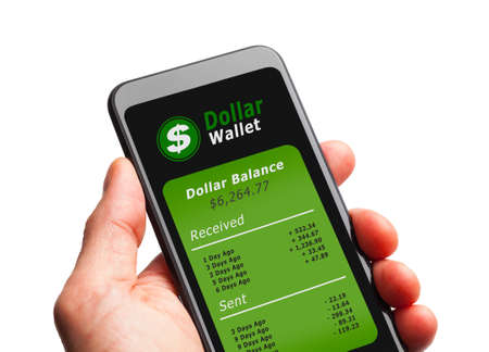 Hand Holding Smart Phone with Federal Reserve Digital Dollar Crypto Wallet. Editöryel