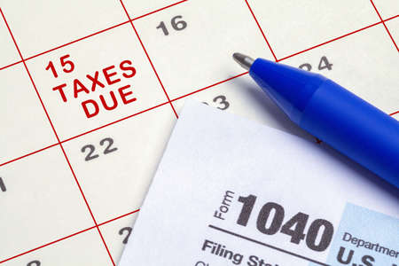 Calendar Taxes Due with Form 1040 and Pen.