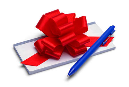 Checkbook Gift with Red Ribbon Bow and Pen.