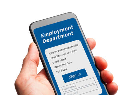Hand Holding Smart Phone with  Unemployment Application Sign in. Stok Fotoğraf