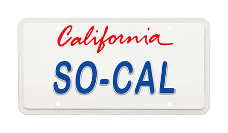 California License Plate with So Cal Printed on It. Stok Fotoğraf