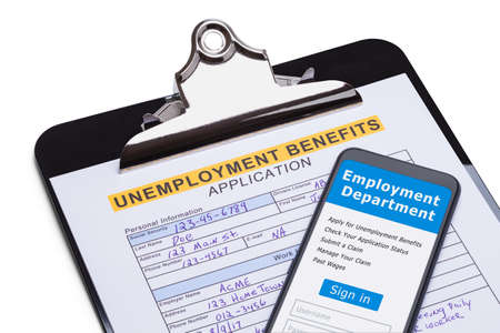 Unemployment Benefits Application with Smart Phone. Stok Fotoğraf
