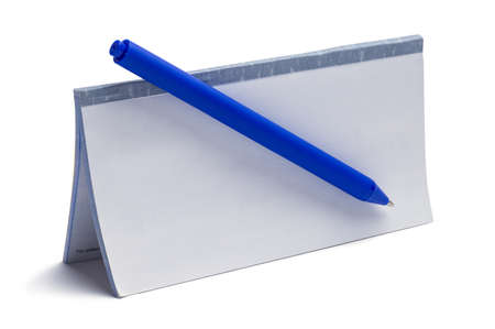 Checkbook with copy Space and Blue Pen.